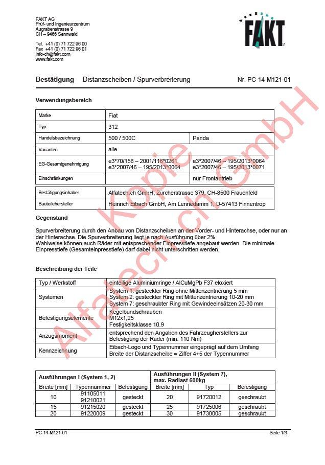 Eibach Spurverbreiterung 30 mm Fiat 500 S90-2-15-020